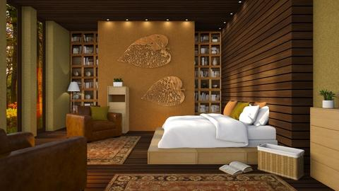 autumn pattern bedroom - by Senia N