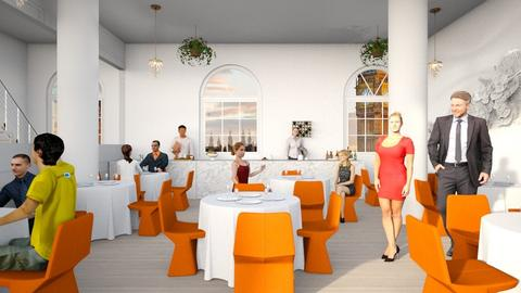 Orange white restaurant - by l i a