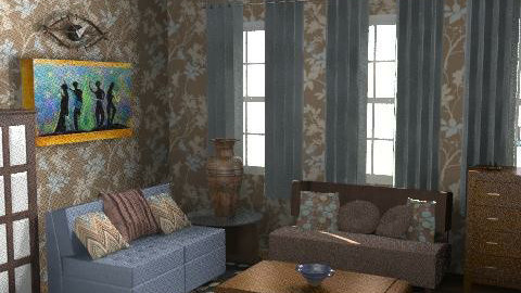 brown, blue - Rustic - Living room  - by mogly