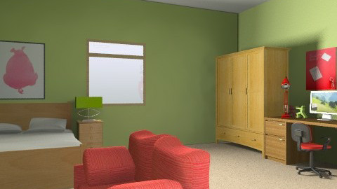 Red and green - Modern - Bedroom - by Anna_m