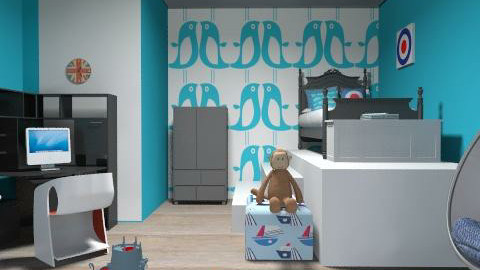 kids room - Retro - Bedroom  - by blodyn