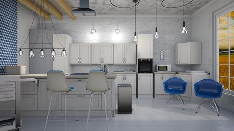 Blue Country - Modern - Kitchen  - by RedPandaRooms
