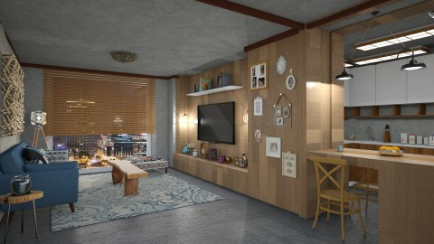 wooden flat - Living room - by mayssa ltf