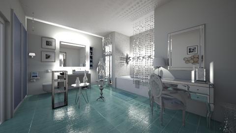 aqua and silver - Bathroom - by hillygabe