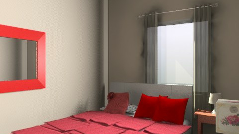 Aska Red and White Curtains 1 - Rustic - Bedroom  - by apikovsky
