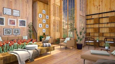 Wood and Plants - Rustic - Living room  - by millerfam