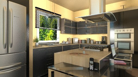 Wood and Glossy Black - Modern - Kitchen  - by Bibiche