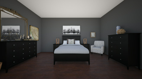 Grey Bedroom - Bedroom - by Calista Spears