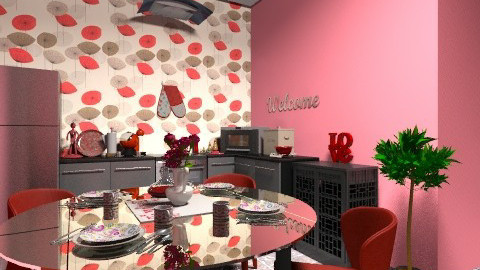 Red Kitchen - Glamour - Kitchen  - by Dinus