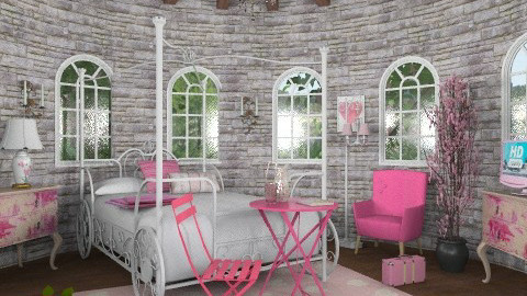 Rapunzel's pink tower - Vintage - Bedroom  - by alleypea