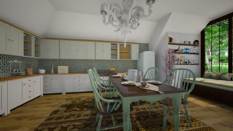 green kitchen - Kitchen  - by ANAAPRIL
