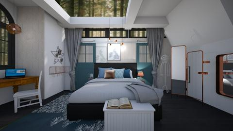 Teal_Metal Bed - Bedroom - by jo0207