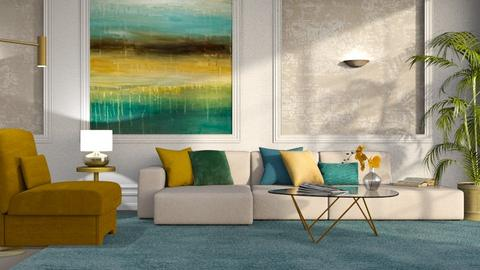 Blue Green Yellow Living - Living room  - by GraceKathryn