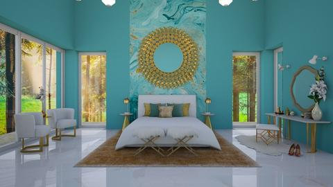 Turquoise Bedroom - Bedroom - by Rebel Peony