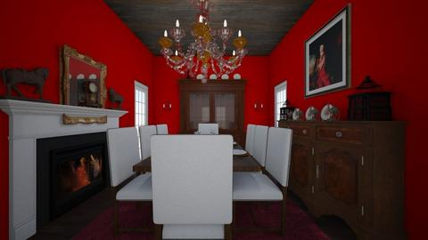 Historic red dining room - by riordan simpson