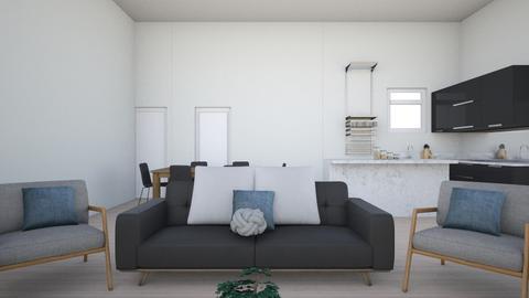 blue gray white black - Bedroom - by cactusgirl