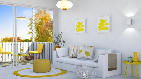 M_White and yellow  - Living room  - by milyca8