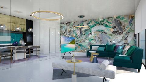 Turquoise and metal Livin - Living room - by chania
