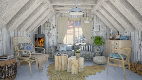Attic - Rustic - Living room  - by Liu Kovac