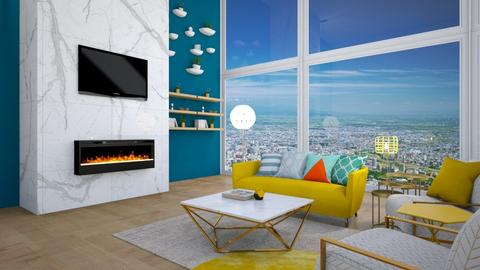 blue green yellow living - Living room  - by annalwys