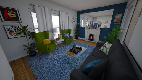 Living room Blue wall 5 - Living room - by yenzers