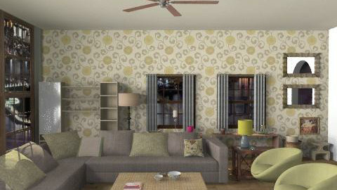 living room.dining room - Rustic - Living room  - by Ariadne491