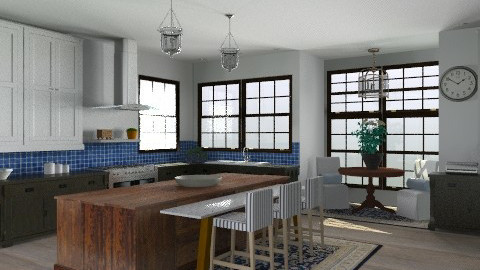 Random Spaces - Blue Tile Kitchen - Classic - Kitchen - by LizyD