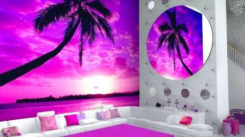 Minimalist white purple lounge - Minimal - Living room  - by carolinafer