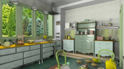 Green kitchen3 - Country - Kitchen  - by milyca8