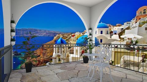 Peaceful Greek Balcony - Garden  - by Shan da farm freak
