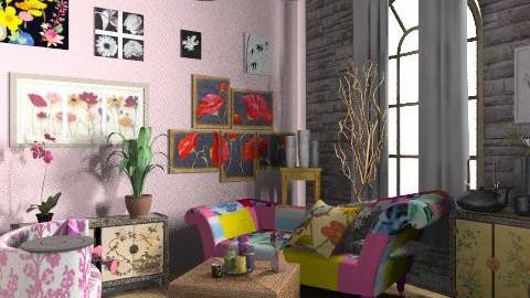 Floral living room - Vintage - Living room  - by lavilavinia