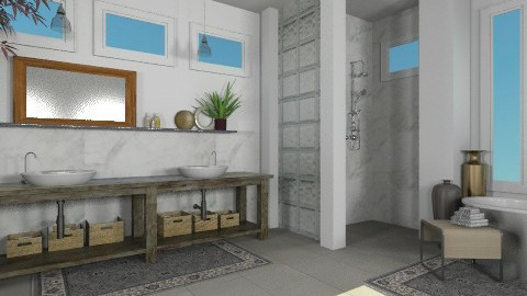 Glass Blocks Bathroom - Bathroom  - by LizyD