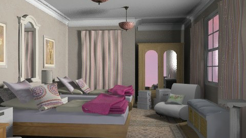 girls twins - Retro - Bedroom  - by chania