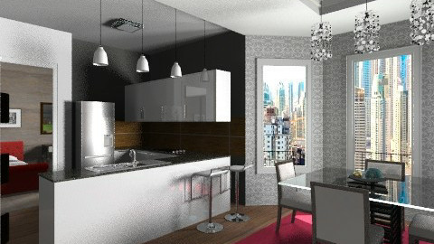 flat dining and kitchen - Modern - Kitchen  - by Maria_Julia