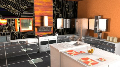 Orange kitchen - Modern - Kitchen - by Tramaine Higgins