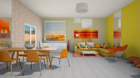 Orange - Retro - Living room  - by Gre_Taa