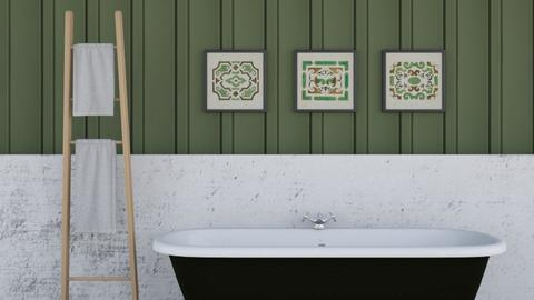 Green and marble bath  - Classic - Bathroom  - by FANGIRLdesigner