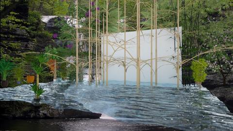 Bamboo forrest waterfall - by mijnspeeltuin