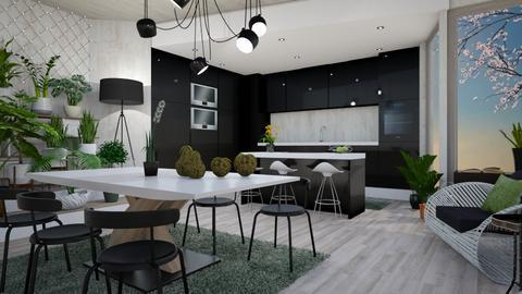 black kitchenfsdgv - Modern - Kitchen  - by mari mar