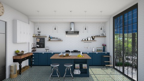 Navy Bistro Style Kitchen - Modern - Kitchen  - by Ryan_22_
