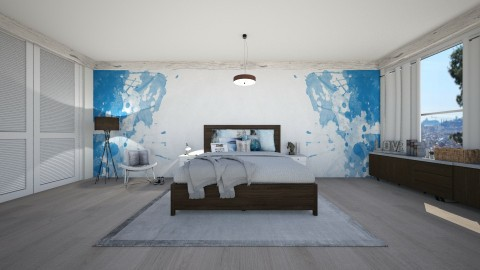 blue bedroom  - Bedroom - by silac26