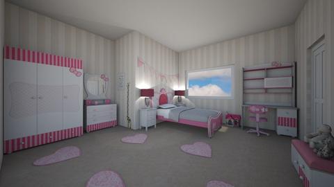 Ribbon Pink Hello Kitty  - Feminine - Kids room  - by Mazzz02
