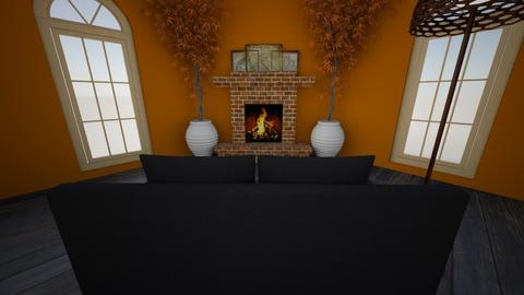 Autumn Fireplace - Living room  - by Karen Sheets