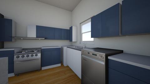 kitchen frig near firepla - Kitchen  - by Jandrescavage