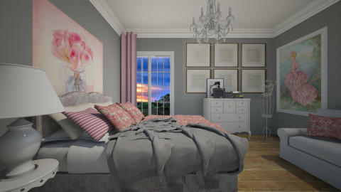 Pink and Grey - Bedroom  - by sissybee