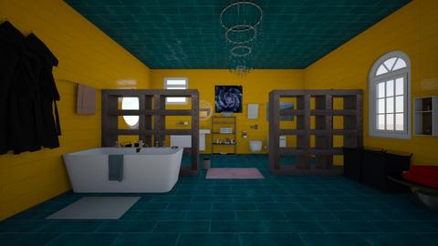 Turqoise Yellow Bathroom  - Modern - Bathroom - by Ravina_9069