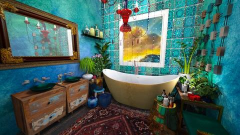 turquoise - Rustic - Bathroom - by hiiamdani