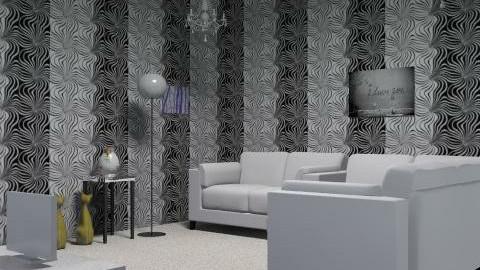 Black and White Living Room - Retro - Living room  - by lozza jozza bozza