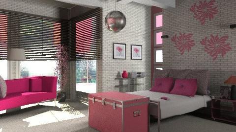 pink and brick - Modern - Bedroom  - by KittiFarkas