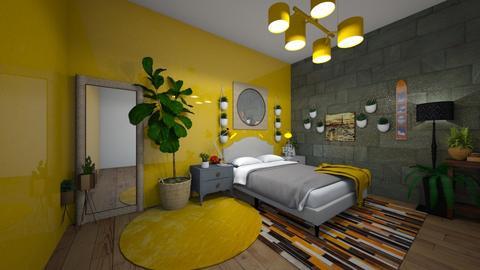mustard yellow bedroom - Bedroom  - by LengLengDSC